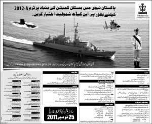 Join Pakistan Navy as PN Cadet Term 2012-A addvertisement