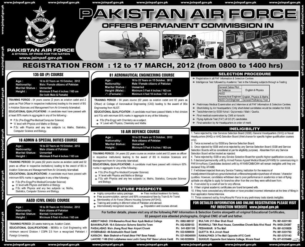 Join PAF As Pilot Officer GDP 135 Announced date 12 - 17 march